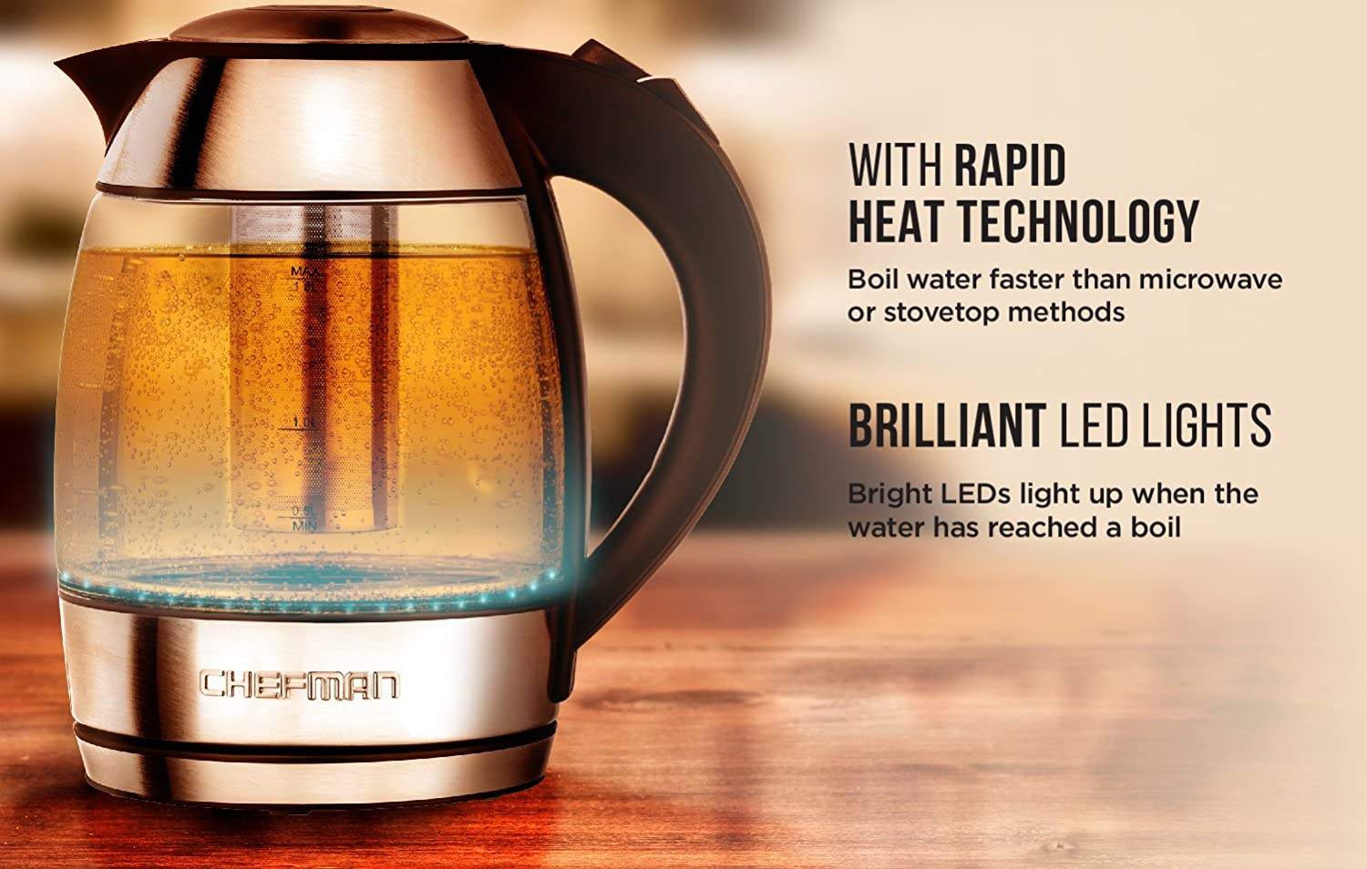 Colored LED Lights 360/° Swivel Base BPA Chefman Electric Glass Kettle w//Temperature Control and Indicator 5 Presets