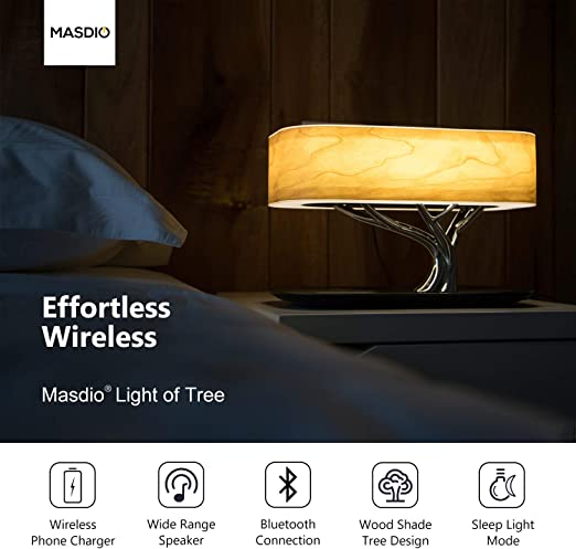Amazon Com Masdio By Ampulla Bedside Lamp With Bluetooth Speaker And Wireless Charger Table Lamp Desk Lamp With Sleep Mode Stepless Dimming Home Improvement