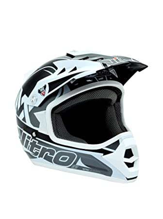 Nitro 187166M03 Raider Junior Casco Moto, Color Gris y Blanco, Talla M