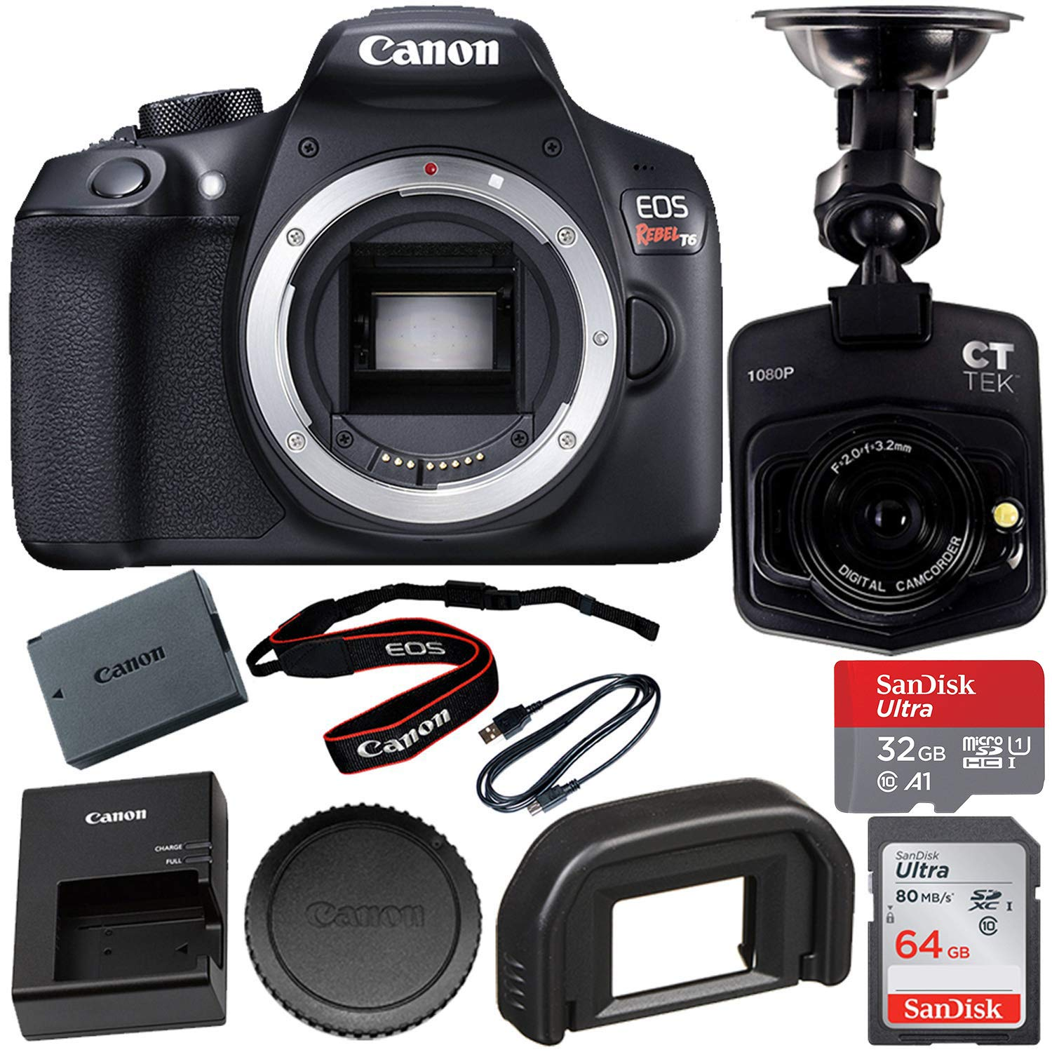Canon EOS Rebel T6 DSLR Camera (Body Only) with Free Dash Cam Bundle: SanDisk Ultra 32GB microSDHC Memory Card + SanDisk Ultra 64GB SDXC Memory Card and More by Canon