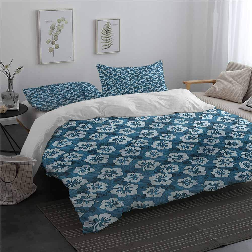 AndyTours Blue 3 Piece Bedding Sets with Zipper Closure Exotic Hawaiian Hibiscus Bedding Set for Men, Women, Boys and Girls Twin