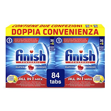 finish all in 1 max pastiglie lavastoviglie limone 100 tabs