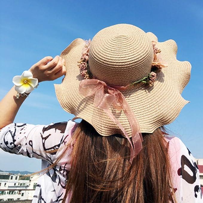 c936b0ee1474e Guiran Mujer Niña Bebé Sombrero De Paja Playa Sombrero ala Ancha Verano  Gorra Sombrero Anti UV Sombrero De Sol Café Oscuro Adulto  Amazon.es   Deportes y ...