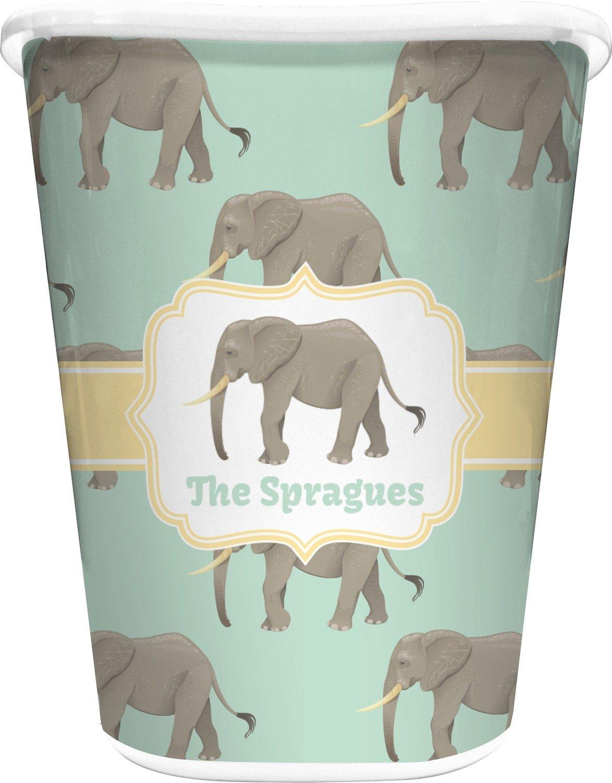 RNK Shops Elephant Waste Basket - Single Sided (White) (Personalized)