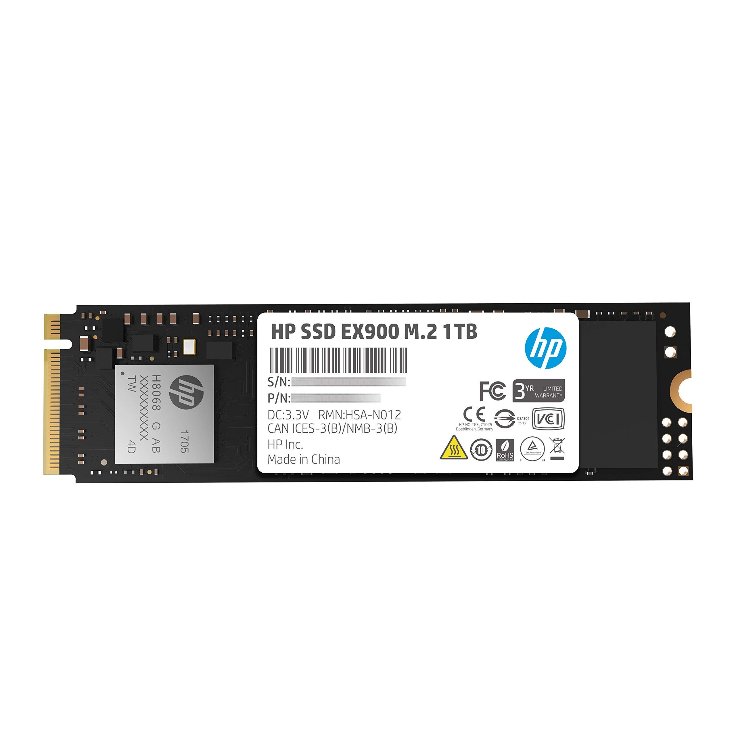 HP EX900 M.2 1TB PCIe 3.1 X4 Nvme 3D TLC NAND Internal Solid State Drive (SSD) Max 2100 Mbps 5Xm46Aa#ABC