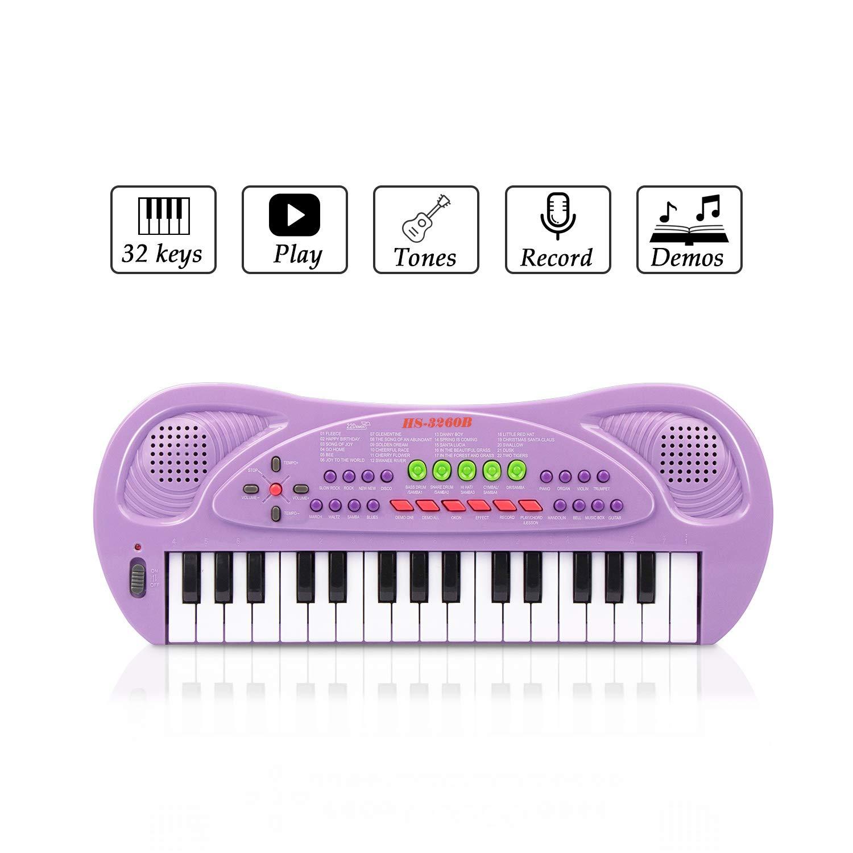 JINRUCHE Kids Piano, 32 teclas multifunción, teclado de piano electrónico para niños pequeños con micrófono (Morado)