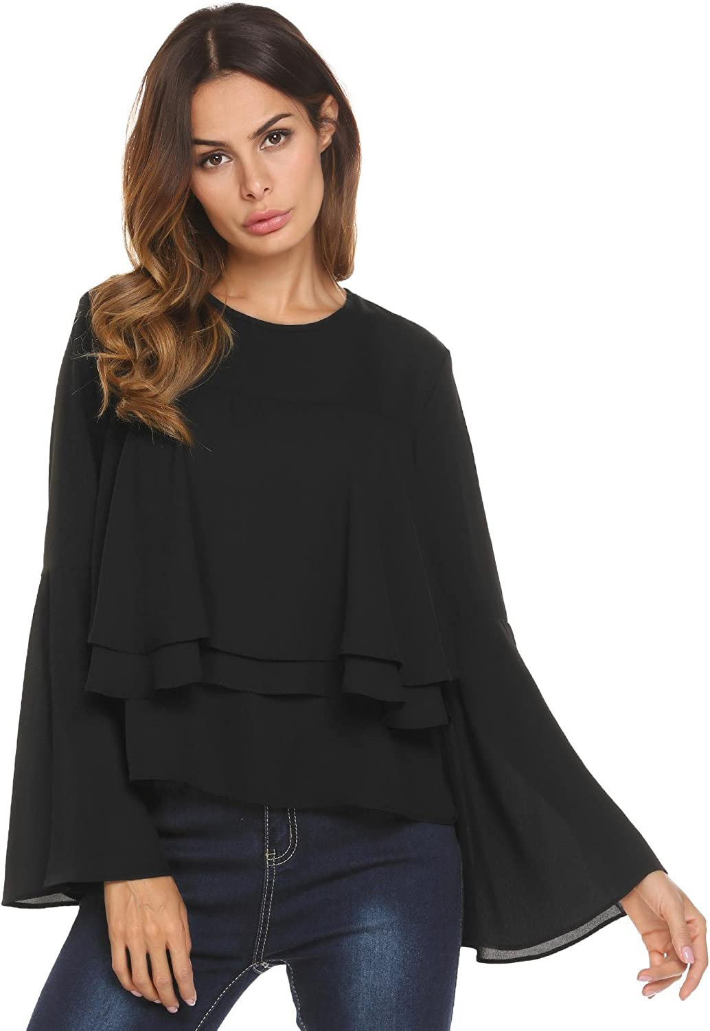 Concep Layered Ruffle Bell Sleeve