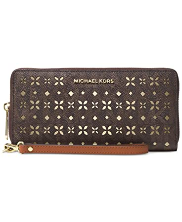 a900ac3ea389 Amazon.com  Michael Jet Set Travel Large Travel Continental Wallet Flora  perforated Brown  Mercy Retail