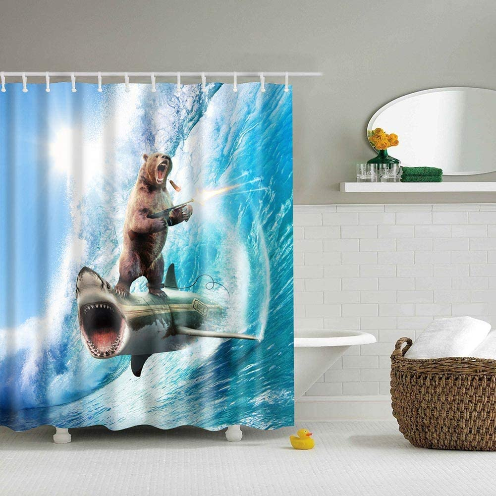 Boyouth Bear Standing on The Shark Shooting and Wave Pattern Digital Print Shower Curtains for Bathroom Decor,Polyester Waterproof Fabric Bath Curtain with 12 Hooks,70x70 Inches,Multicolor