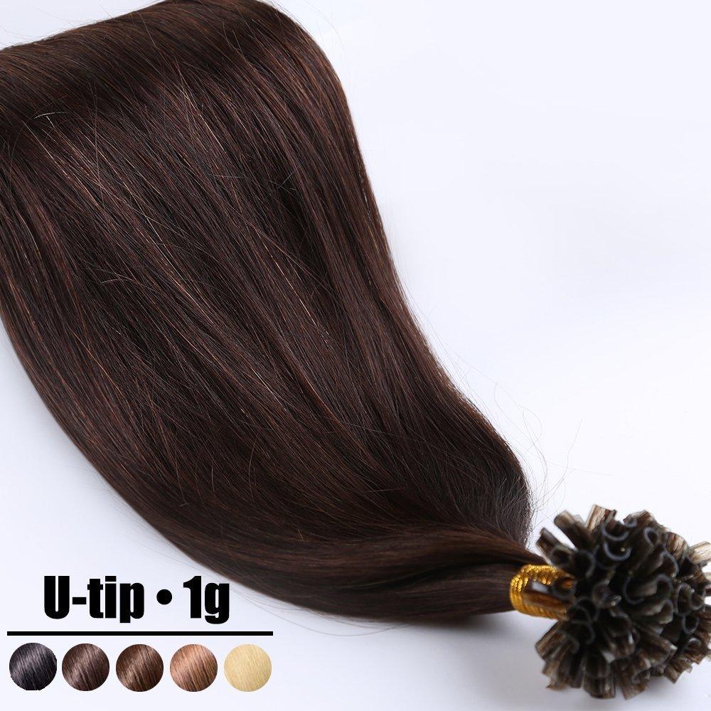 Extension Capelli Veri Cheratina Ciocche 1 Grammo/Ciocca Pre Bonded U Tip Allungamento 100% Remy Human Hair - 50cm 50g #02 Marrone Scuro UK-Fashion-Shop