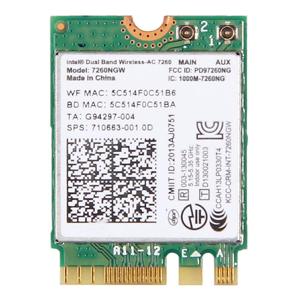 7260NGW Intel® Dual Band Wireless-AC 7260 802.11ac, Dual Band, 2x2 Wi-Fi + Bluetooth 4.0