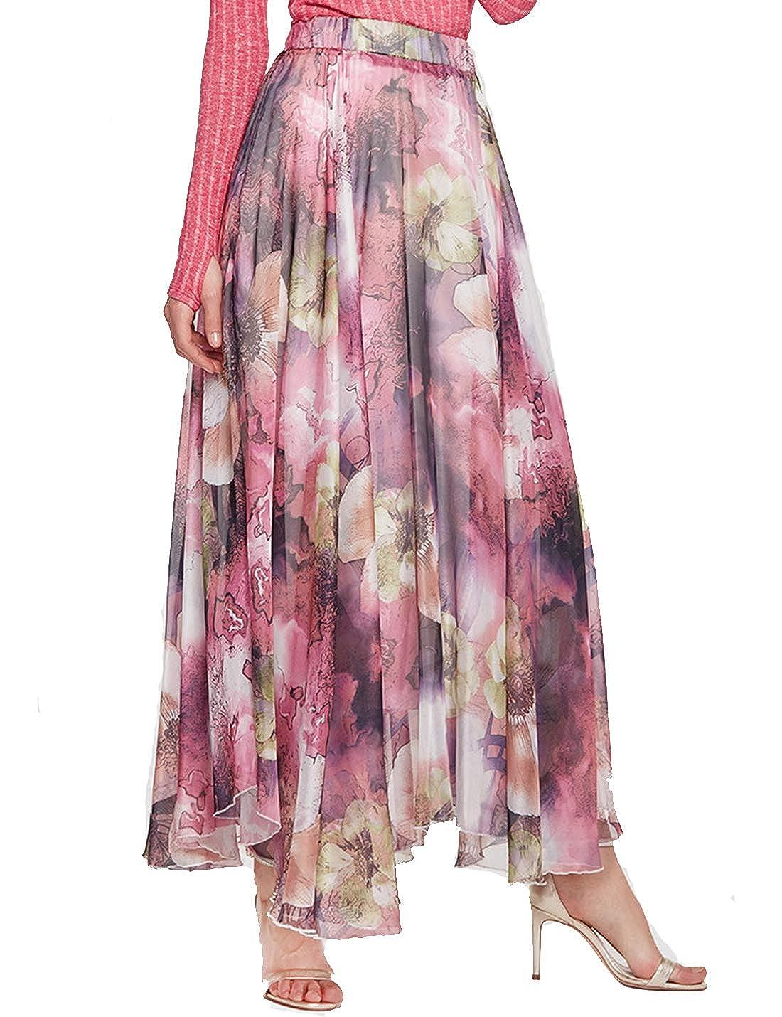 Naliha Faldas Elegantes de Talle Alto con Flores Bohemias para ...