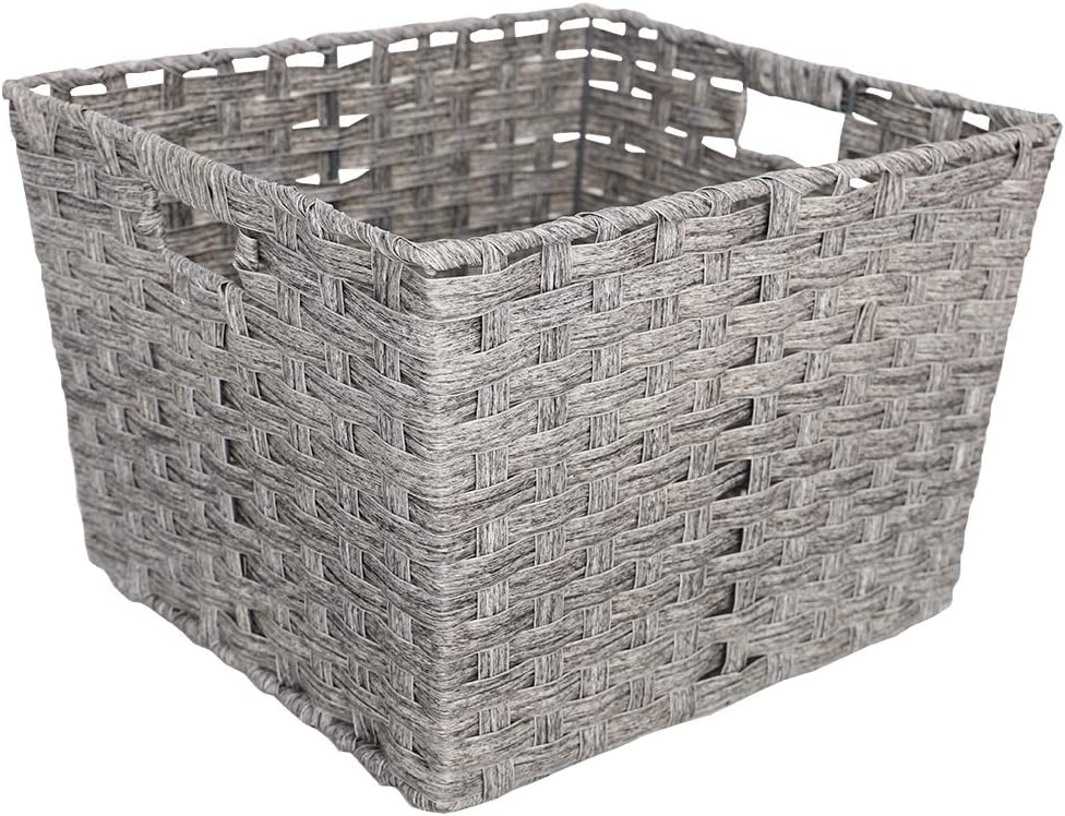 Home Basics 886466392336 X-Large Faux Rattan Basket, Grey