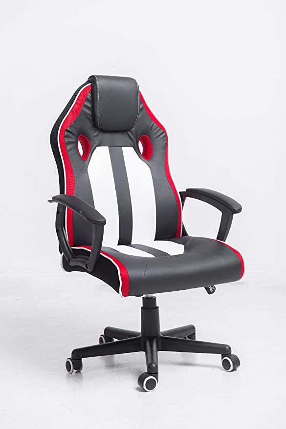 Amazon Com Ergonomic Gaming Chair With Pu Leather High Back Headrest Adjustable Height And Lumbar Support Black Red And White Kitchen Dining