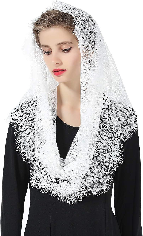 Mantilla De Encaje Española Mujer Capilla Velo Pañuelo de Iglesia Católica Bordado Chal Bufanda Negra Blanca V100: Amazon.es: Ropa y accesorios