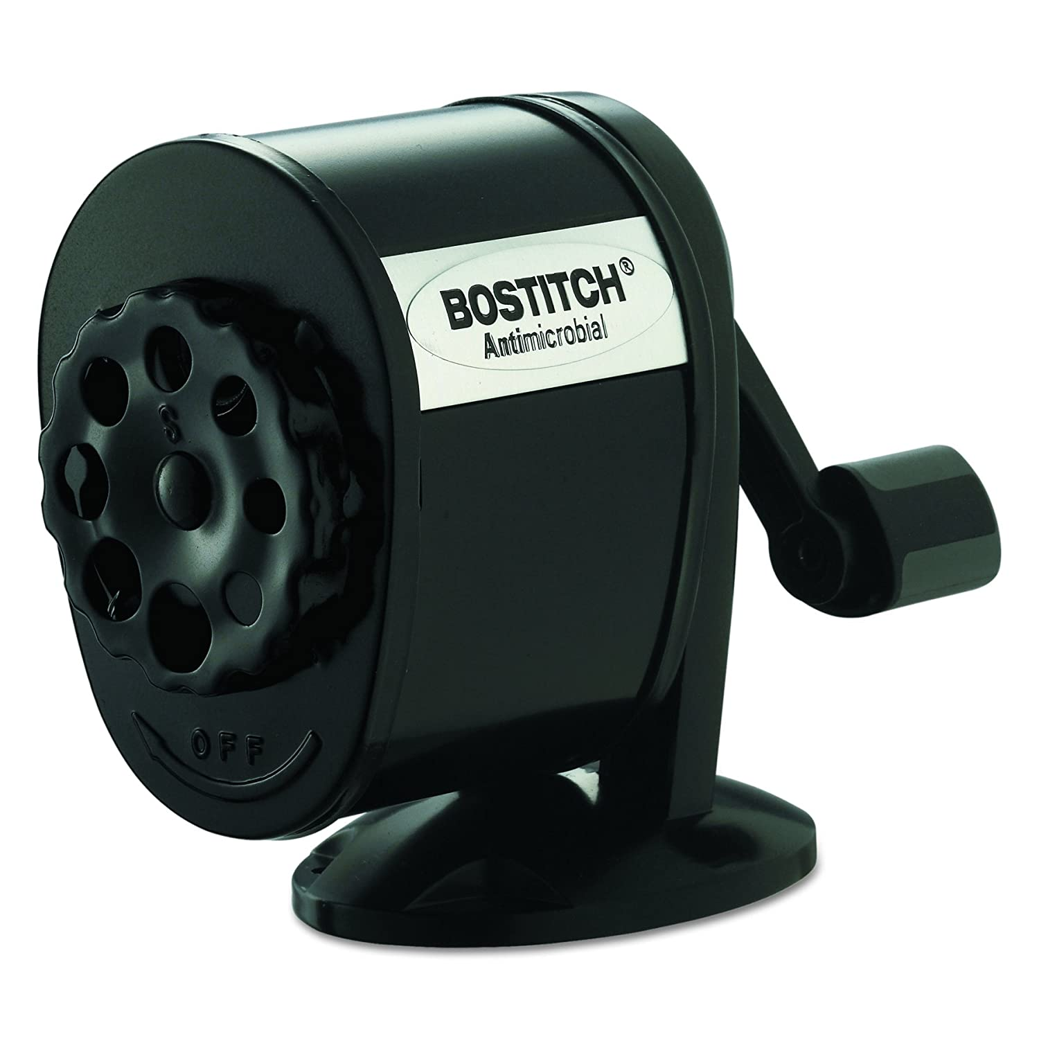 Bostitch Metal Antimicrobial Manual Pencil Sharpener, Black (MPS1-BLK)
