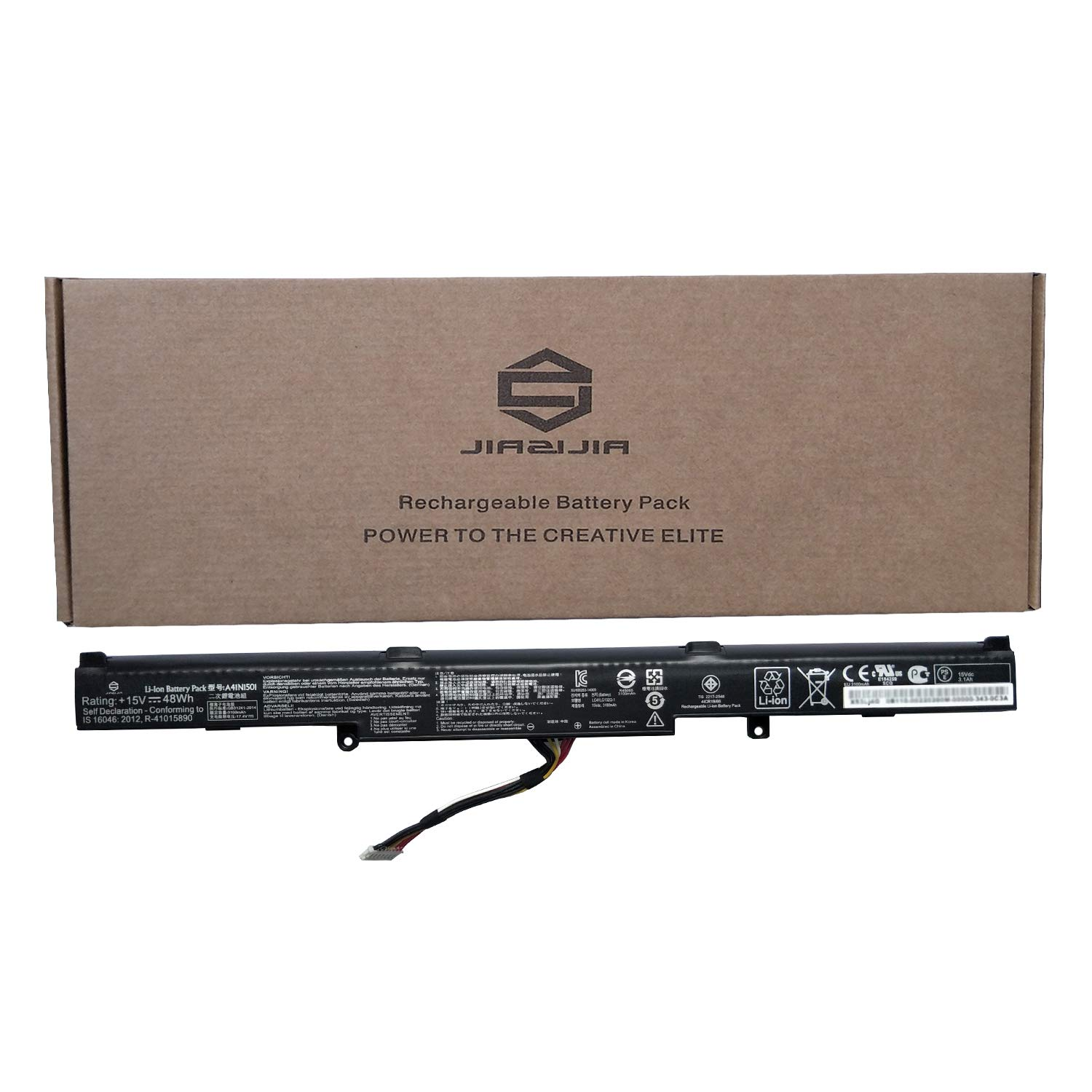 JIAZIJIA A41N1501 Laptop Battery Replacement for Asus Rog G752VW GL752 GL752V GL752VLM GL752VW GL752VWM N552V N552VW N552VX N752 N752V N752VW N752VX Series A41LK9H 15V 48Wh 3100mAh 4-Cell