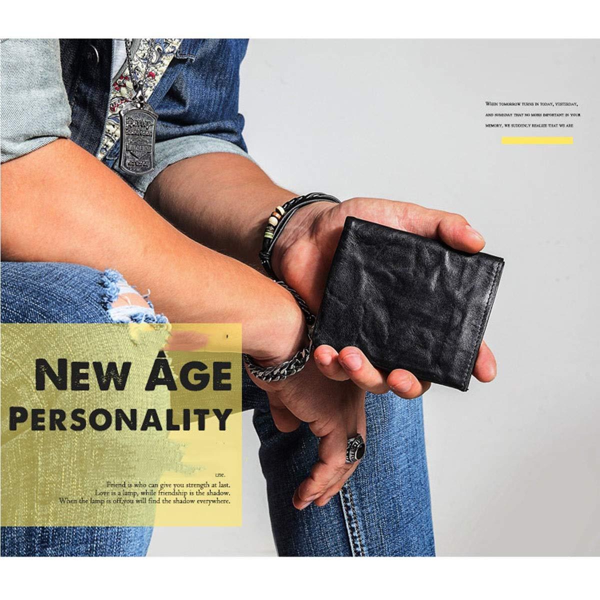 2b5da4db80 ... Black Yikuo Men's And Women's Brown Vintage Wallet Wallet Wallet  Leather, Size 10.5 9 1