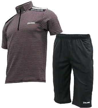 9593ec70bbdc17 Amazon | SPALDING(スポルディング) ランニングウェア 上下 セット Tシャツ ジャージ ハーフパンツ メンズ | 上下セット 通販