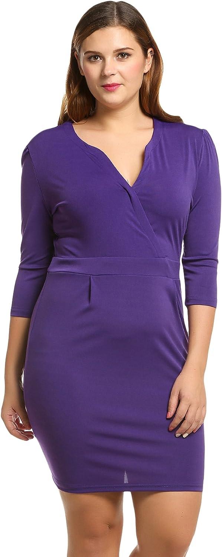 Meaneor Women Plus Size 3//4 Sleeve V-Neck Business Bodycon Pencil Dress L-4XL