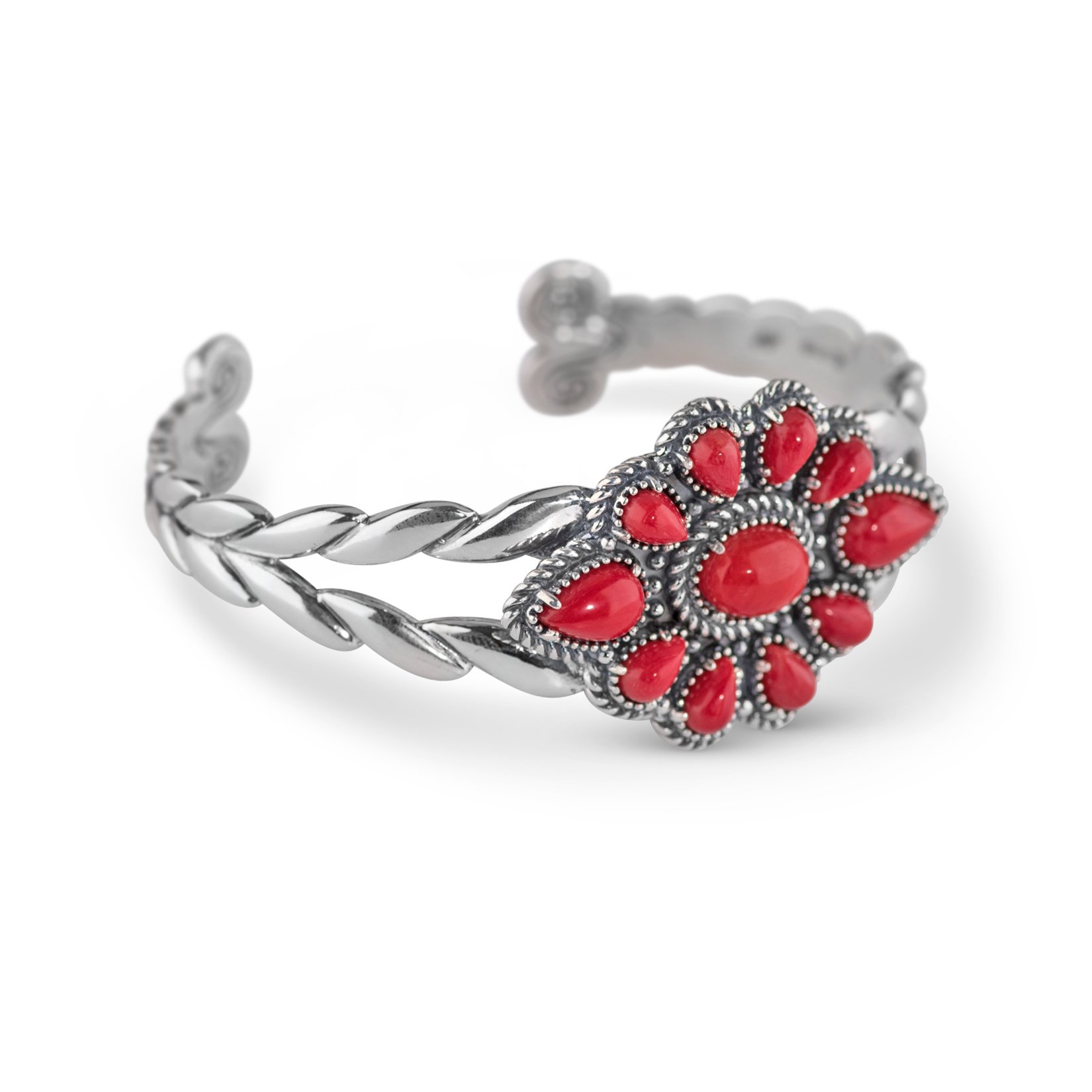 American West Sterling Silver Red Coral Cluster Cuff Bracelet
