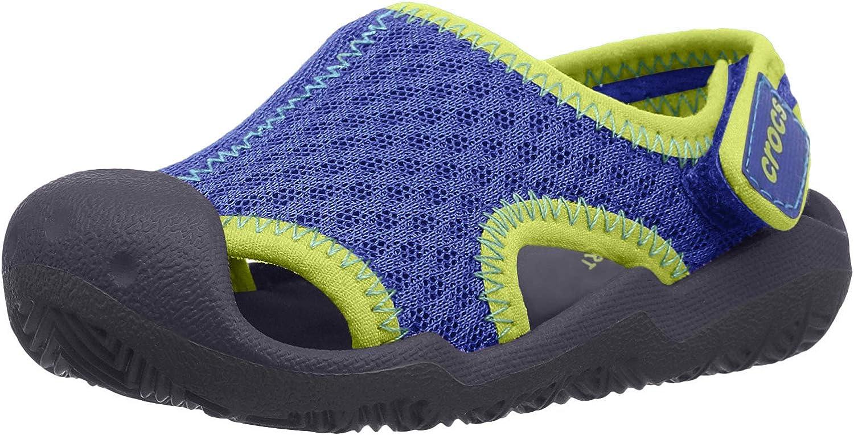 Crocs Kids' Swiftwater Sandal | Water Slip On Shoes Flat, blue jean/navy, 7 M US Toddler
