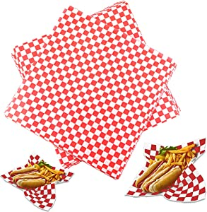 Hslife 100 Sheets Red and White Checkered Dry Waxed Deli Paper Sheets, Paper Liners for Plasic Food Basket, Wrapping Bread and Sandwiches