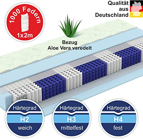Amazon De Matratzen Perfekt Tonnentaschen Federkern Matratze Munchen Mit 1000 Federn Und Aloe Vera