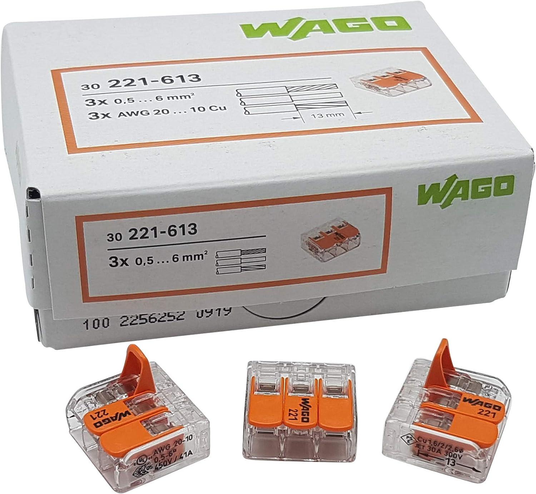 transparent Jeu de 30 pinces de connexion Wago 15x 2 fils 10x 3 fils 5x 5 fils avec levier 0,5-6 qmm petit mod/èle