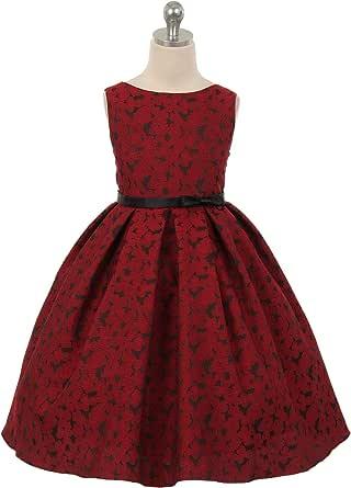 Amazon.com: Kid's Dream Flower Girl Dress Floral Print Elegant Jacquard Party Dress Made in USA