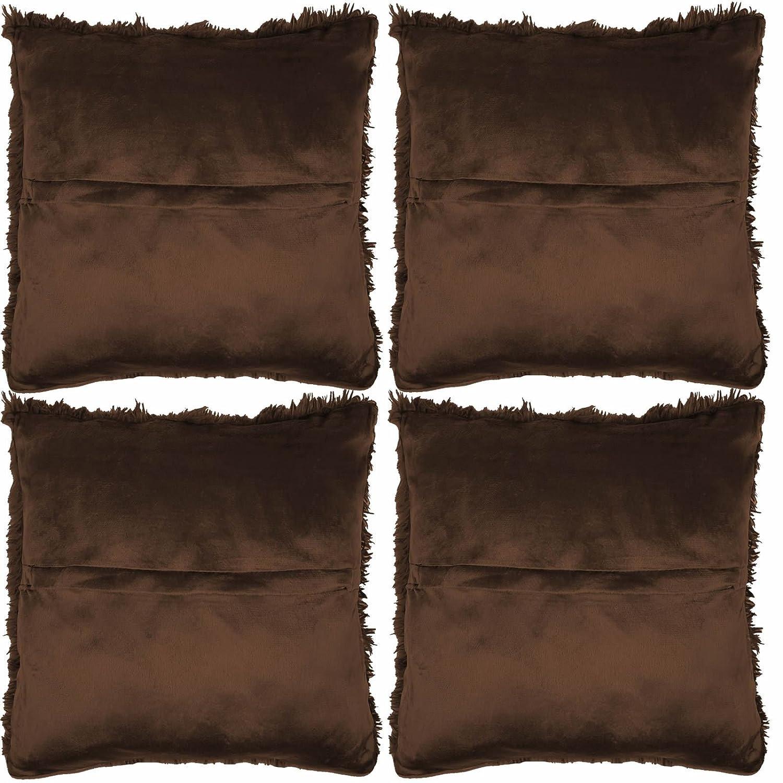 Chocolate 43x43cm Faux Fur Cushion Cover Adore 4 x Long Pile Soft /& Cuddly Shaggy 17x17