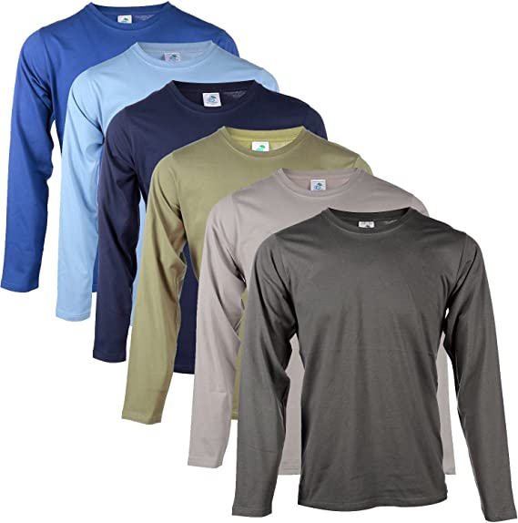 Blu Cherry Lot de 246 pour Homme en Coton uni Vierge Basic T Shirt à Manches Longues Décontracté Top Multi Assortis Lot Heavy T Shirt en Coton Fin à