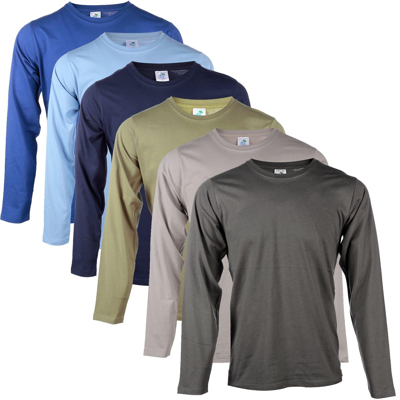 Blu Cherry 2 4 6 Pack Mens Plain 100% Premium Cotton Blank Basic Long Sleeve T Shirt Casual Top Assorted Multi Pack Heavy Cotton T-Shirt