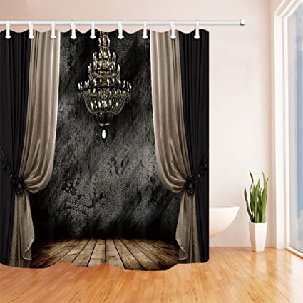Ancient Gothic Decor Shower Curtains Medieval Castle Baroque Design Waterroof Bathroom Curtain With Free