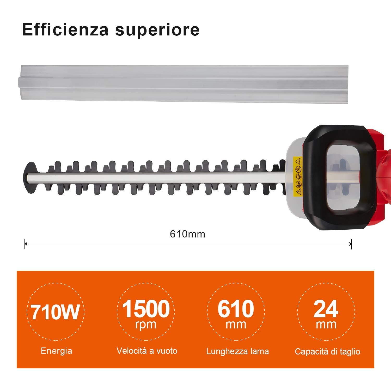 TEENO Tagliasiepi Elettrico 710W Professional Tagliasiepi Lunghezza della Lama 61cm Distanza tra I Denti 24Mm