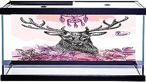 Fish Tank Sticker Background Hand Drawn Deer Simple Design Art Print Aquarium Background