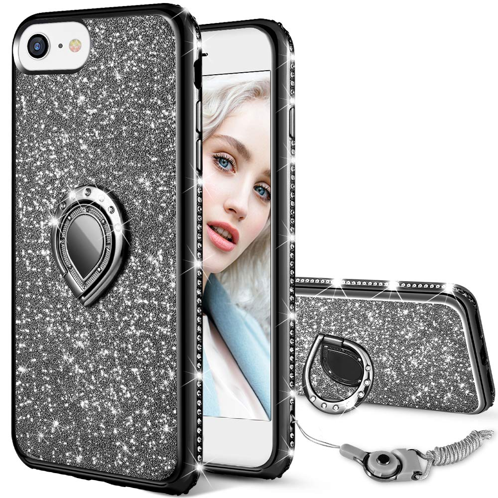 Maxdara Case for iPhone 8 iPhone 7 Glitter Case Shiny Bling Diamond Rhinestone Kickstand Ring Grip Holder Ultra Thin Pretty Girls Women Case Cover for iPhone 6 6s 7 8 4.7 inches (Black) by Maxdara