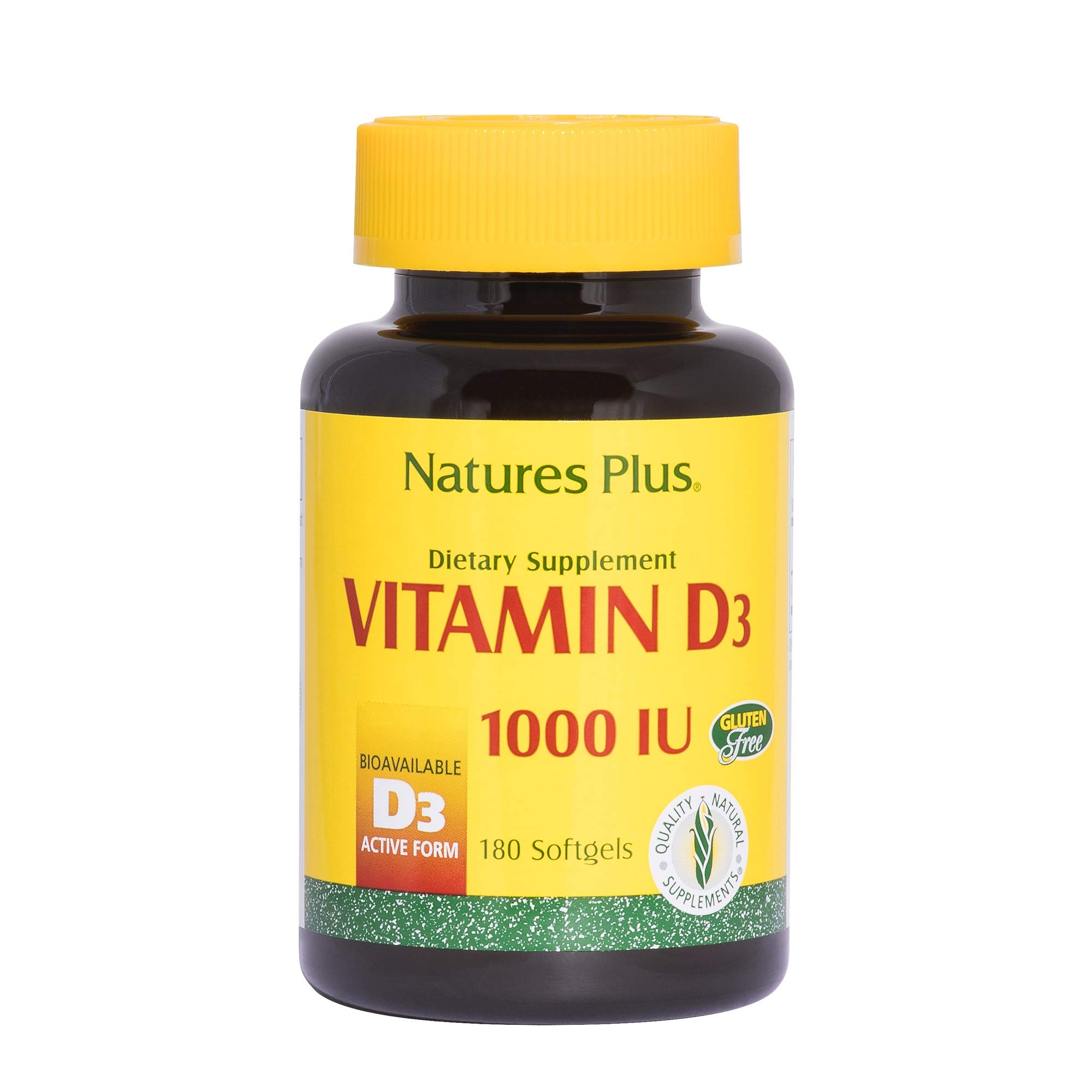 NaturesPlus Vitamin D3 (Cholecalciferol) - 1000 iu, 180 Softgels - Nutritional Support for Healthy Bones & Immune System Support - Bioavailable Active Form - Gluten-Free - 180 Servings