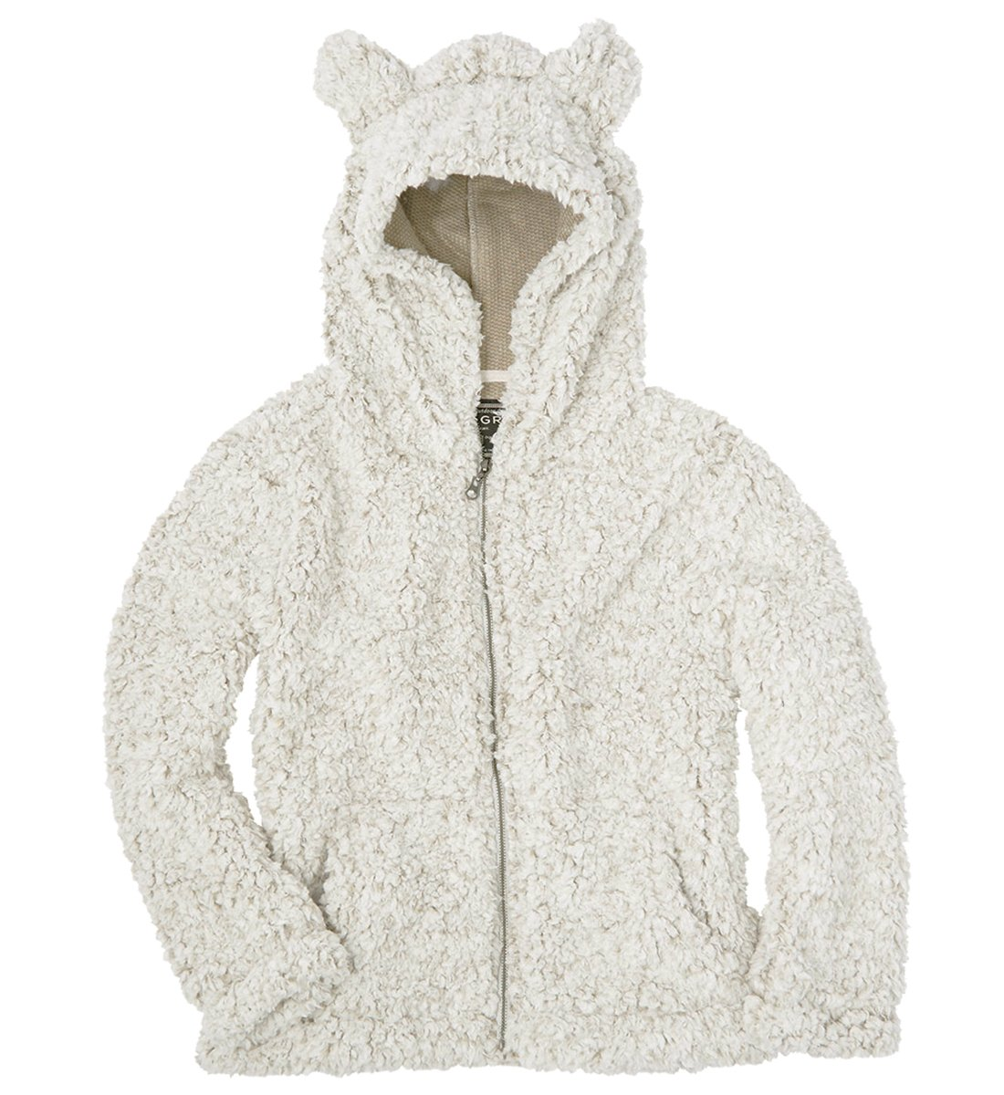 True Grit Youth Frosty Tipped Pile Teddy Bear Zip Up Hoodie-Oatmeal-Youth Small