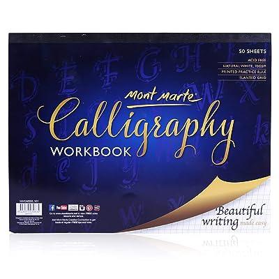 MONT MARTE Carta Calligrafia - 50 fogli, 70 g/m² - Carta di alta qualità - Blocco di Calligrafia ideale per scrittura e Lettering - Quaderno di esercizi perfetti per principianti - Con utili consigli: Hogar