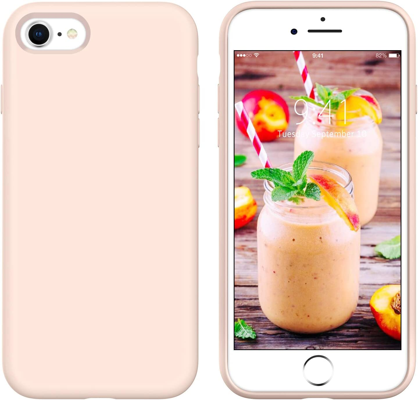 GUAGUA iPhone SE 2020 Case iPhone 8 Case iPhone 7 Case 4.7-inch Liquid Silicone Soft Gel Rubber Slim Microfiber Lining Cushion Texture Cover Protective Case for iPhone 8/7/SE 2020 Pink