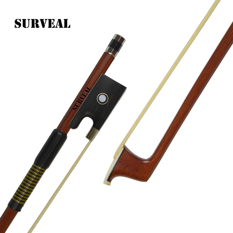 SURVEAL Archet de violon prosessionnel en bois du Brésil avec queue de cheval de Mongolie et meilleur élastique pour débutant 4/4 marron