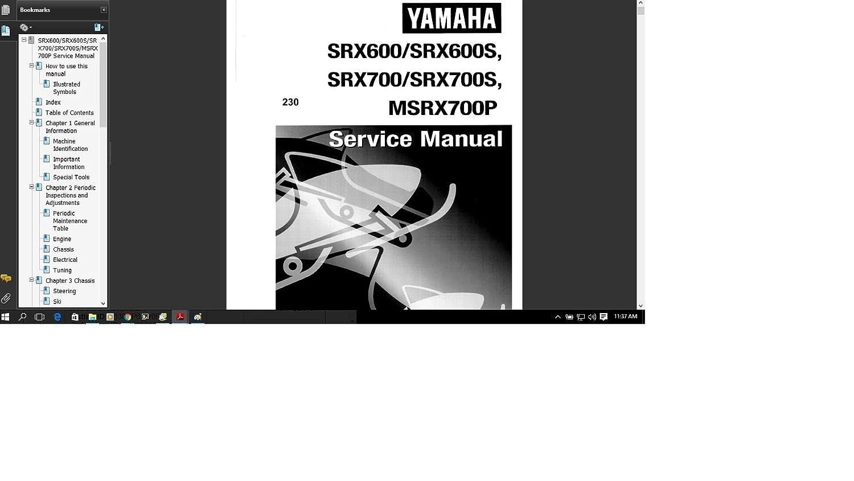 Amazon.com : Yamaha SRX MSRX 600 700 Snowmobile 1998 1999 Service Manual  Library : Everything Else