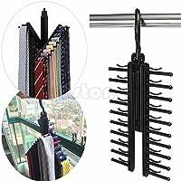 FunnyDay Adjustable 360° Rotating 20 Tie Belt Scarf Plastic Hanger Rack Holder Organiser (Color Send Randomly)
