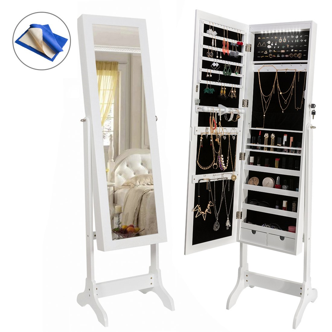 HollyHOME Jewelry Cabinet Lockable Standing Jewelry Armoire with Mirror Storage Organizer with LED Light , 4 Angle Adjustable, White