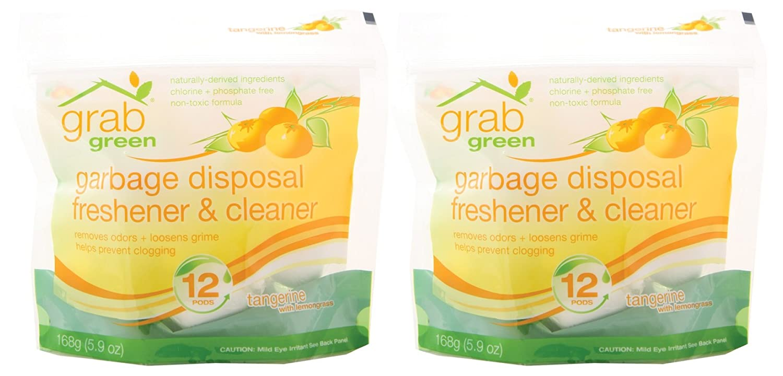 Grab Green 天然由来のミネラルベースの処分クリーナー&フレッシュナー、レモングラスとタンジェリン、12個のポッド   B00649B0MI