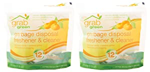 Grab Green Natural Garbage Disposal Cleaner, Deoderizer & Freshener Pods, Plant & Mineral-Based Ingredients, Tangerine + Lemongrass—With Essential Oils, 12 Pods