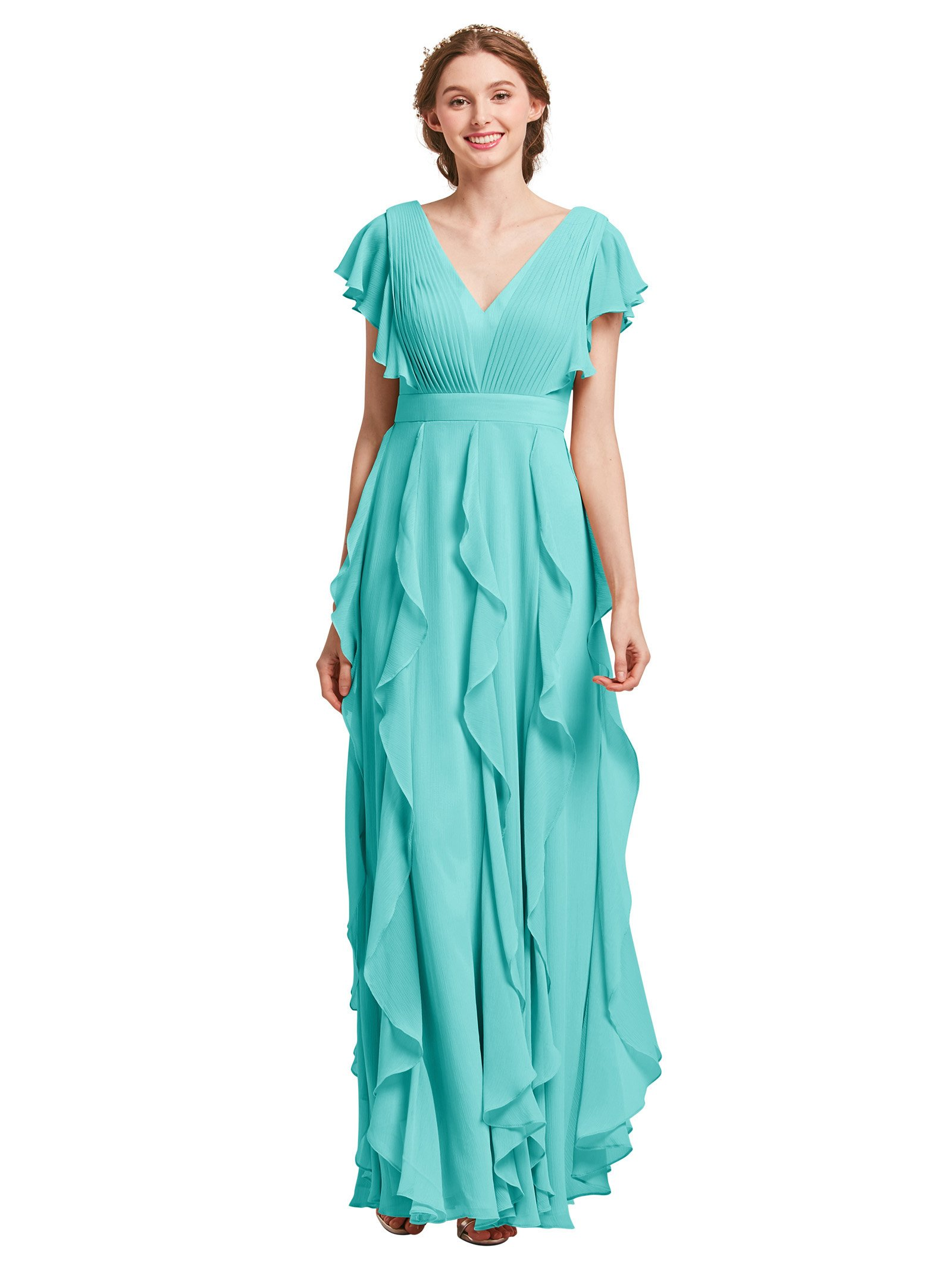 AW Bridal Plus Size Bridesmaid Dresses for Women Formal Dresses with  Sleeves Chiffon Long Gowns and Evening Dresses, Tiffany, US20
