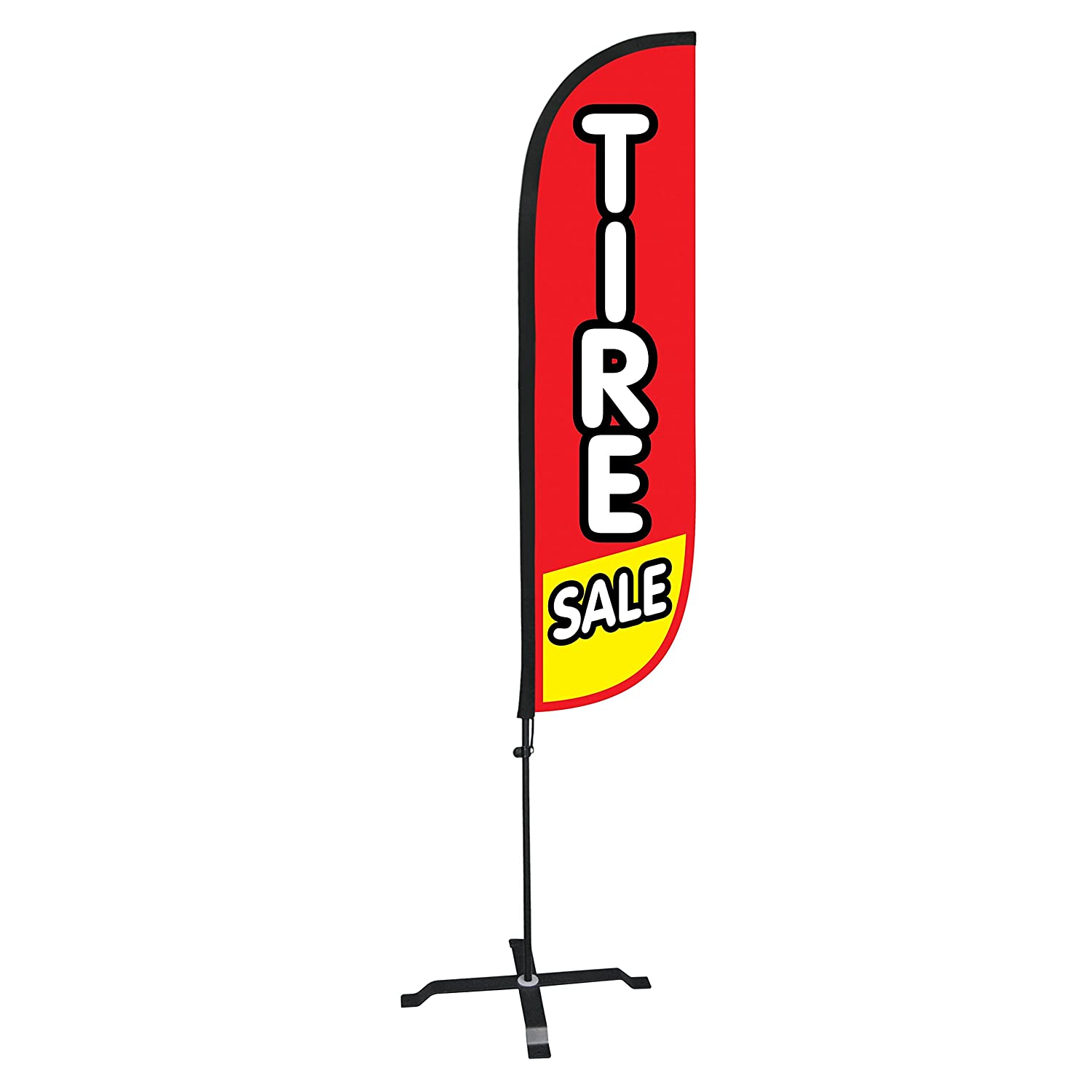 LookOurWay Feather Flag Auto Themed Complete Set with Poles and X-Stand Base 5-Feet