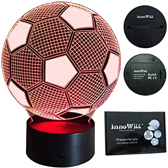 Innowill Led Lampe Fussball Geschenke 7colors Usb Und Batteriebetriebene